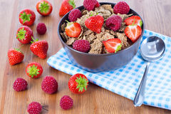 Bran flakes with fresh raspberries and strawberries. On blue checkered cloth. Healthy eating choice concept Royalty Free Stock Photos