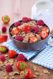 Bran flakes with fresh raspberries and strawberries and pitcher. Bran flakes with fresh raspberries and strawberries on blue checkered cloth and a pitcher of Royalty Free Stock Photos