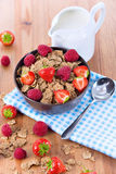 Bran flakes with fresh raspberries and strawberries and pitcher. Bran flakes with fresh raspberries and strawberries on blue checkered cloth and a pitcher of Stock Photos