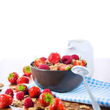 Bran flakes with fresh raspberries and strawberries and pitcher. Bran flakes with fresh raspberries and strawberries on blue checkered cloth and a pitcher of Stock Photo