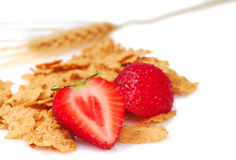 Bran flakes with fresh strawberries Royalty Free Stock Images