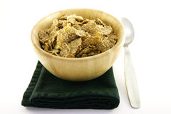 Bran Flakes in a Woodden Bowl Royalty Free Stock Photos