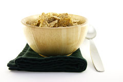 Bran Flakes in a Woodden Bowl Stock Photo