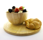 Bran Flakes in a Wooden Bowl Royalty Free Stock Photos