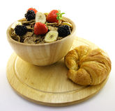 Bran Flakes in a Wooden Bowl Royalty Free Stock Photo