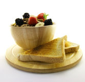 Bran Flakes in a Wooden Bowl Stock Photography