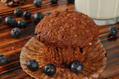 Bran and flax seed muffin with wild blueberries Royalty Free Stock Photo
