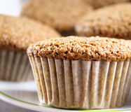 Bran Muffins. Delicious and nutritious bran muffins on serving plate Royalty Free Stock Photography