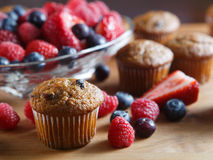 Bran muffins and berry fruit on wooden board Stock Photo