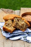 Bran muffins outdoor. Bran muffins on a wooden board outdoor Royalty Free Stock Images