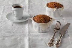 Bran muffins with raisins and a cup of coffee Royalty Free Stock Photo