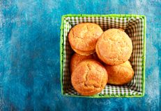 Bran muffins in small wicker Stock Images