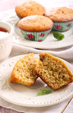 Bran and raisin muffins. And cup of tea Stock Photography