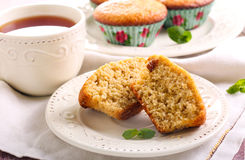 Bran and raisin muffins. And cup of tea Royalty Free Stock Images