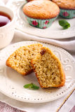 Bran and raisin muffins. And cup of tea Royalty Free Stock Photography
