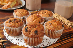 Bran and raisin muffins. Healthy bran and raisin muffins with chocolate milk Stock Photo