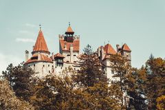 Ancient creepy castle Bran. Abode of Dracula in Transylvania, Romania, Eastern Europe Royalty Free Stock Photos
