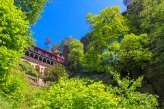 Brana de Pravcicka, parque nacional Suiza bohemia, República Checa imagenes de archivo
