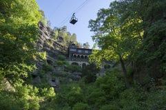 Brana Pravcicka узкая горная порода расположенная в богемской Швейцарии, последний пейзаж весны с растительностью, голубым небом  стоковые фотографии rf