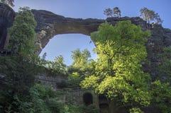 Brana Pravcicka узкая горная порода расположенная в богемской Швейцарии, последний пейзаж весны с растительностью, голубым небом  стоковое изображение