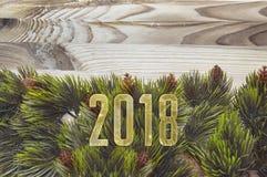 Brances dell'albero di abete su fondo di legno con i 2018 numeri dorati Fotografia Stock