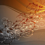 Branch on the abstract background. Abstract background with floral pattern and waves Stock Photos