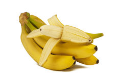The branch of bananas on a white background Stock Photo