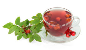 Branch with berries wild rose and cup tea isolated. Stock Image