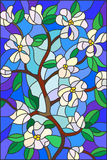 Branch with blooming flowers, stained glass style, white flowers and leaves on blue background. Illustration in stained glass style with abstract cherry blossoms Stock Photography