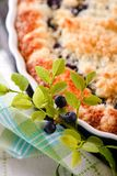 Branch of blueberries from woods in front of berry pie royalty free stock photos