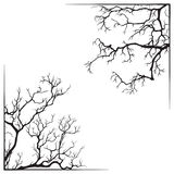 Branch borders halloween black and white print design vector illustration Stock Images