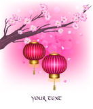 Branch of cherry blossoms. And Chinese lantern. Beautiful card in oriental style stock illustration