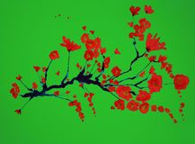 Branch of cherry blossoms on a green background. The dabbing technique gives a soft focus effect due to the altered surface roughness of the paper Royalty Free Stock Photos