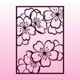 A branch of cherry or sakura blossoms. Laser cutting template. Stock Image