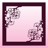 A branch of cherry or sakura blossoms. Laser cutting template. Stock Photo