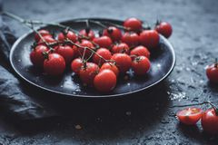 Branch of cherry tomatoes on black plate, close up. Selective focus stock photos