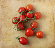 Branch of cherry tomatoes on an old rustic stone chopping board Royalty Free Stock Photo