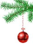 Branch with christmas ball. Vector fir tree branch with christmas ball Stock Images