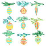 Branch with christmas ball decorations set. Branch of Christmas tree and christmas ball set Stock Images