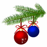 Branch with Christmas balls. Vector illustration. Stock Photos