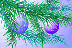 Branch of a Christmas fur-tree. The  image of a branch of a Christmas fur-tree with blue spheres Stock Photography