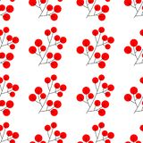 Branch of Christmas holly berries Element for festive design isolated . Vector illustration. seamless pattern vector illustration