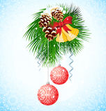 Branch of Christmas tree. Vector illustration Royalty Free Stock Image