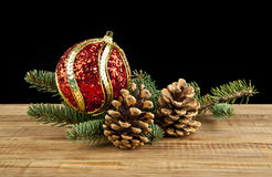 Branch of Christmas tree. Ball and cones Stock Images