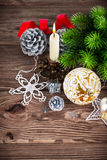 Branch of Christmas tree with balls Stock Images