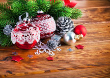 Branch of Christmas tree with balls. Branch of Christmas tree with tinsel and balls Royalty Free Stock Photo