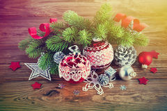 Branch of Christmas tree with balls. Branch of Christmas tree with tinsel and balls Stock Photo