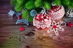 Branch of Christmas tree with balls Stock Image