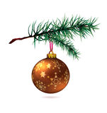 Branch of Christmas tree with bauble. Background decoration Royalty Free Stock Image