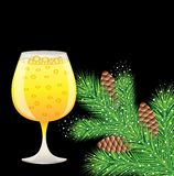 Branch of christmas tree with cones and glass of champagne Stock Photography